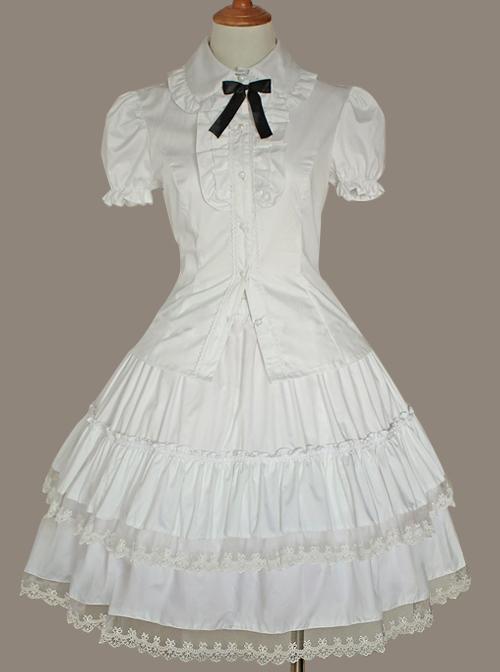 White Lace Cake Skirt Cute Lolita Shirt And Petticoat Set