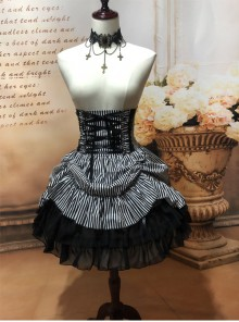 Black White Stripes High Waist Gothic Lolita Skirt