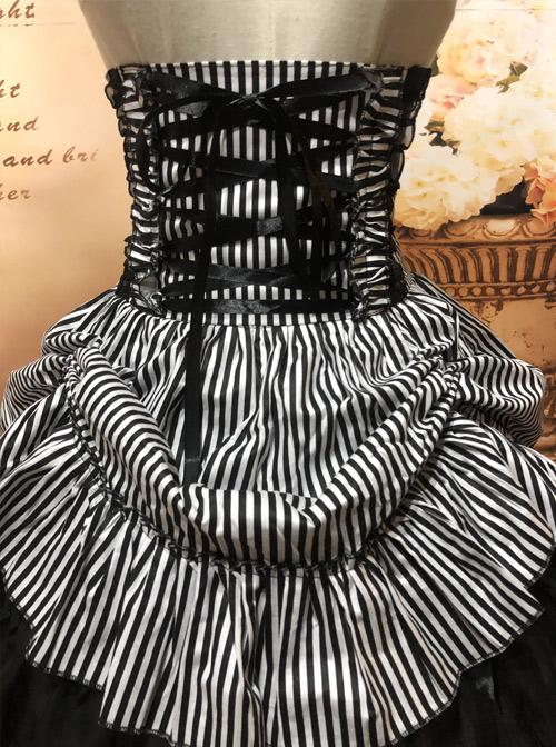 Black White Stripes High Waist Gothic Lolita Skirt