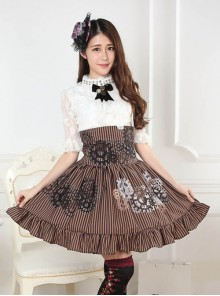 Steampunk High Waist Gear Pattern Ruffles Lolita Skirt