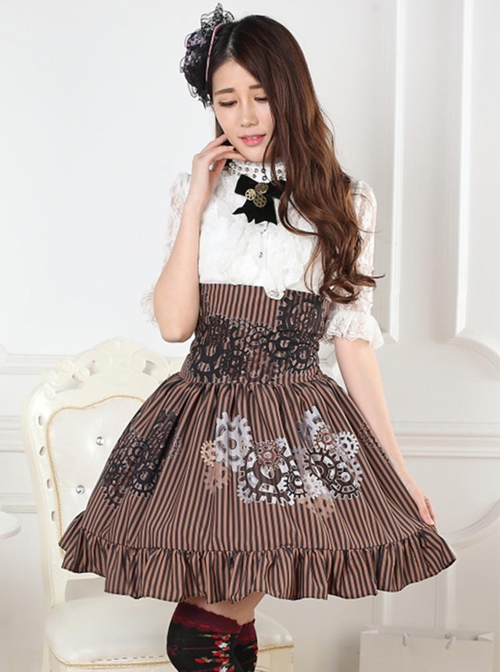 Steampunk High Waist Gear Pattern Ruffles Lolita Skirt