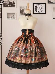 Walnut Soldier's Wonderful Journey High Waist Lolita Skirt