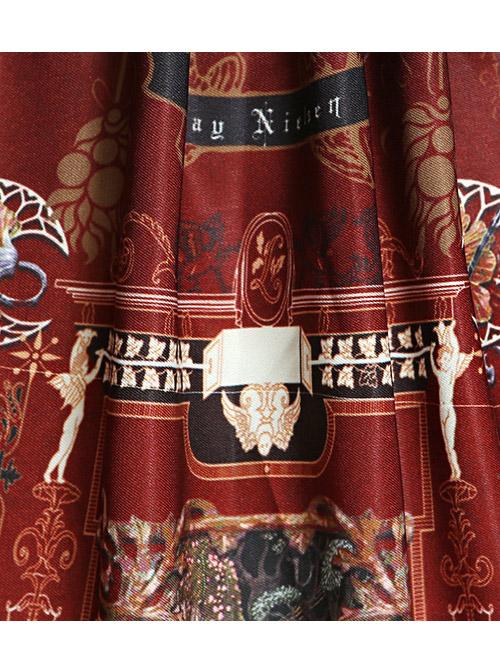 Castle Elves Series Printing Ruffles Gothic Lolita Skirt