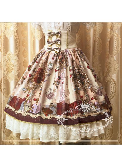Retro Paradise Garden Printing High Waist Lolita Skirt