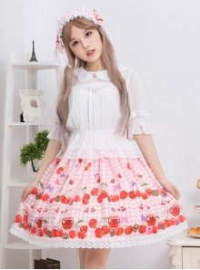 Bowknot Lace Cherry Sauce Sweet Lolita Skirt