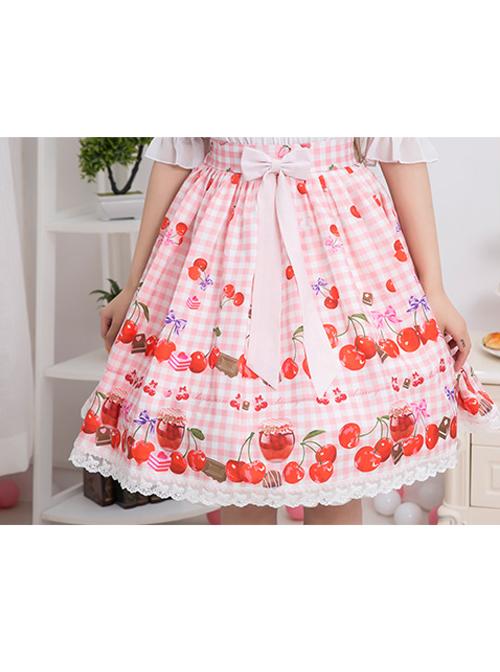 Bowknot Lace Cherry Sauce Sweet Lolita Skirt