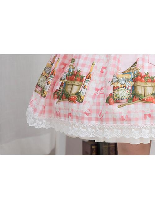 Bowknot Lace Strawberry Jam Sweet Lolita Skirt