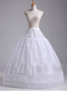 Cotton Steel Ring Lolita White Long Petticoat Custom Made