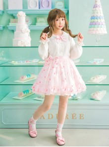 Strawberry Cookie Pink Bowknot Sweet Lolita Skirt