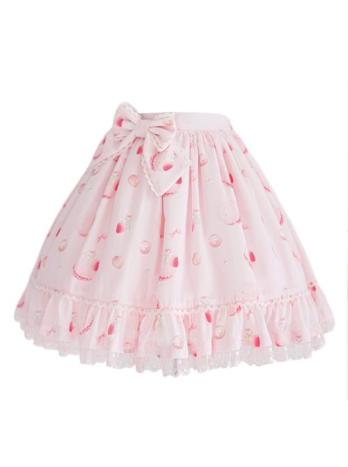 Strawberry Cookie Pink Bowknot Sweet Lolita Skirt