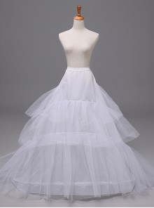 White Big Wedding Dress Trailing Style Petticoat