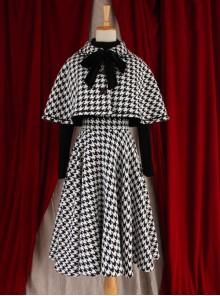 Monets Garden Vintage Houndstooth Lolita Skirt And Cloak Set