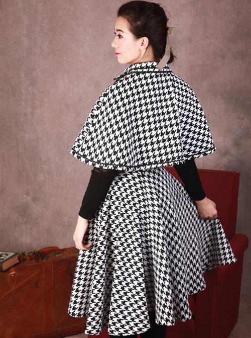Monets Garden Vintage Houndstooth Lolita Skirt And Cloak Set