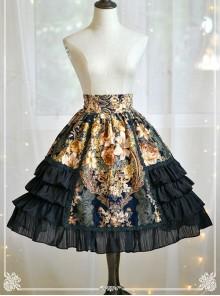 Black Retro Bronzing Flower Wall Printing Classic Lolita Skirt