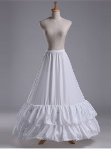 White Double Layer Ruffle Fishtail Gorgeous Classic Lolita Skirt Bracing