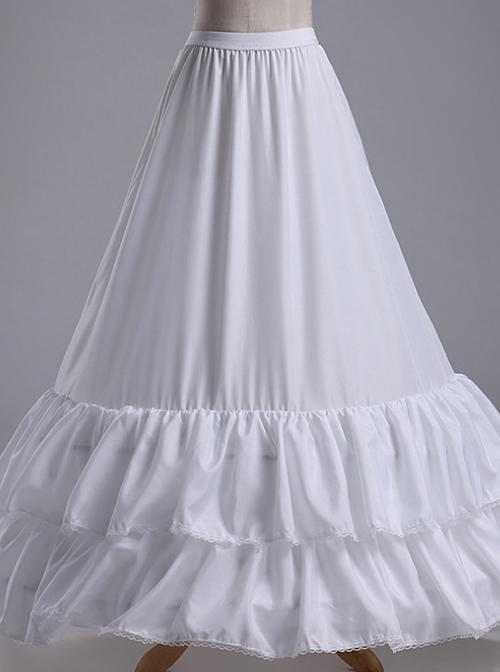 White Double Layer Ruffle Fishtail Gorgeous Classic Lolita Skirt Bracing