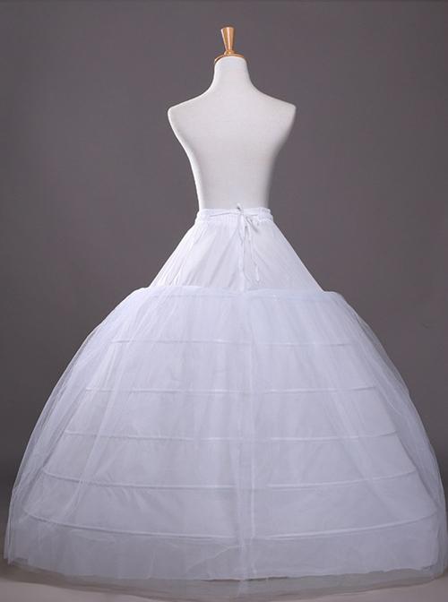 Palace Style Elastic Waist Classic Lolita White Skirt Bracing
