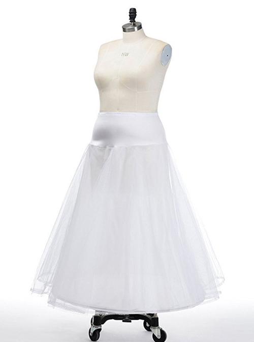 A-shaped Hem Double Decker Net Yarn Lolita Prom Long Dress Petticoat