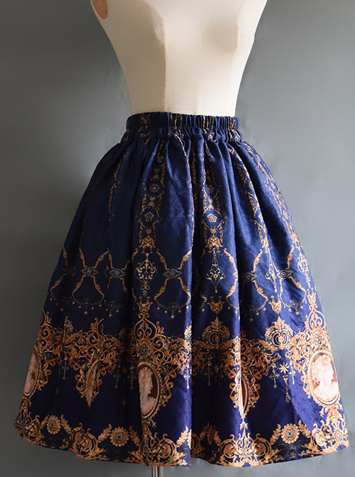 Retro Concise Double-sided Printing Classic Lolita Skirt