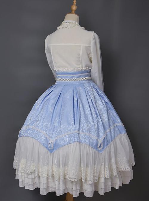 Vintage Palace Style Jacquard Big Hem Classic Lolita Skirt