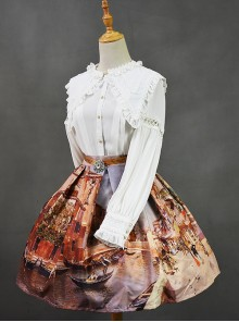 Retro Slim European Oil Painting Printing Classic Lolita Skirt
