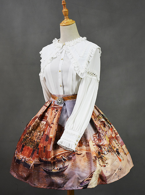 Retro Slim European Oil Painting Printing Classic Lolita Skirt