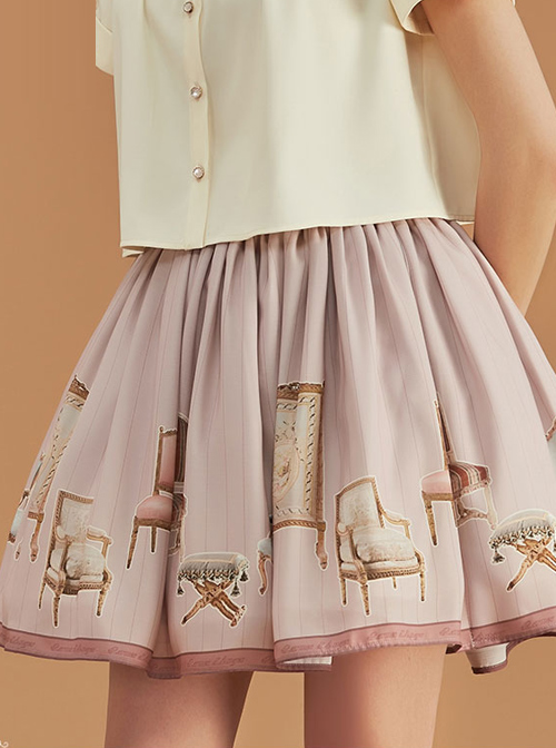 Antique Chair Series Elegant Pink And Green Classic Lolita Skirt