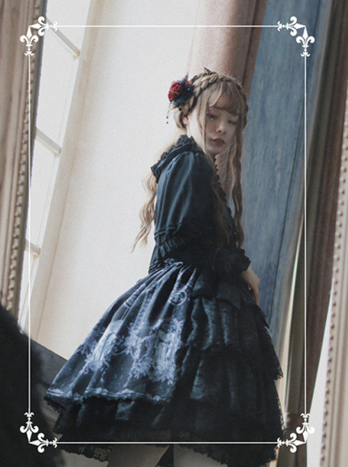Tristan And Isolde Series Exquisite Printing Black Gothic Lolita Skirt