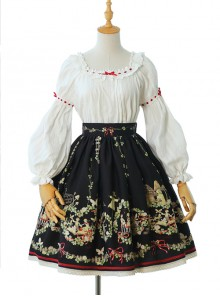 Flowers And Echoes Series Elegant Printing Classic Lolita Skirt