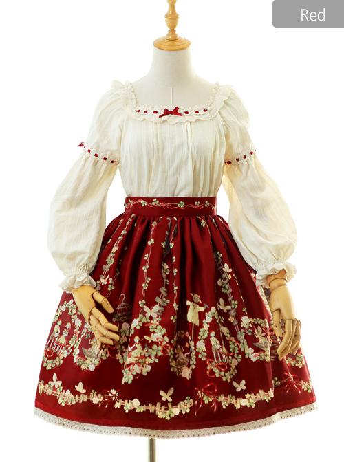 Flowers And Echoes Series Elegant Printing Classic Lolita Skirt