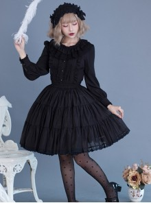 Black Or White Cute Lace Pure Color Classic Lolita Skirt