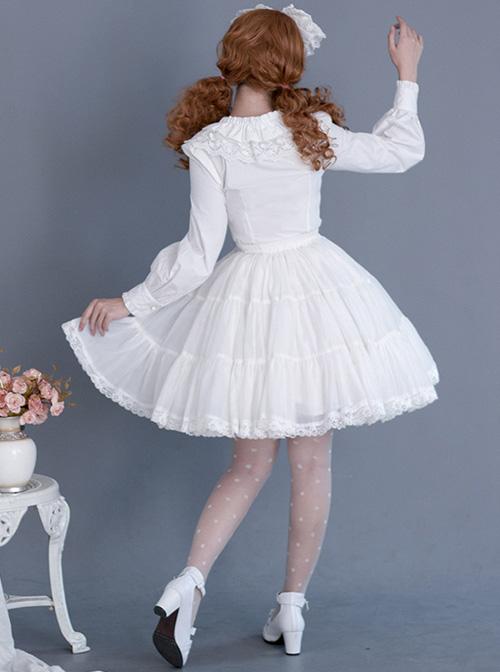 Black Or White Cute Lace Pure Color Classic Lolita Skirt