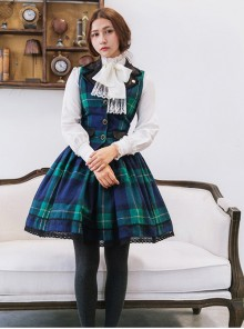 Retro Lapel Classic Lolita Vest And Skirt Set