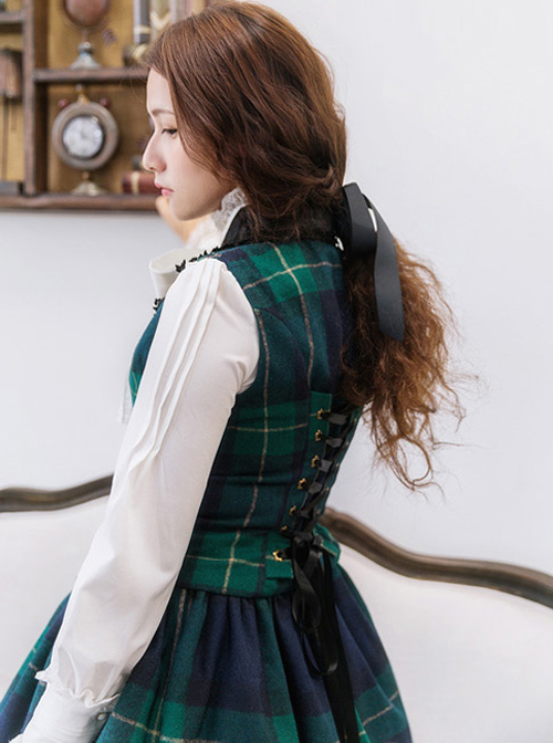Retro Lapel Classic Lolita Vest And Skirt Set
