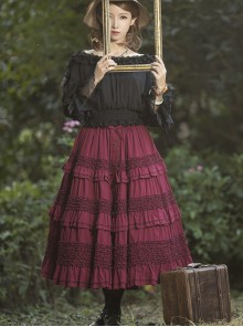 Heidi Series Pure Color Ruffle Cotton Classic Lolita Skirt