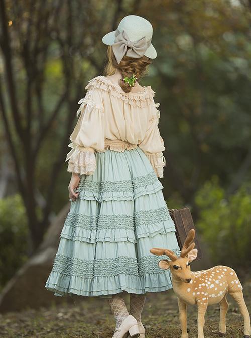 Heidi Series Pure Color Ruffle Cotton Classic Lolita Skirt