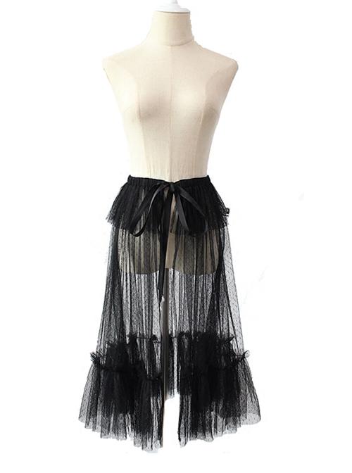 Black Or Apricot Vintage Ruffled Lace-up Bowknot Lolita Yarn Skirt