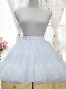 White Or Black Glass Yarn Bubble Skirt Lolita Short Petticoat