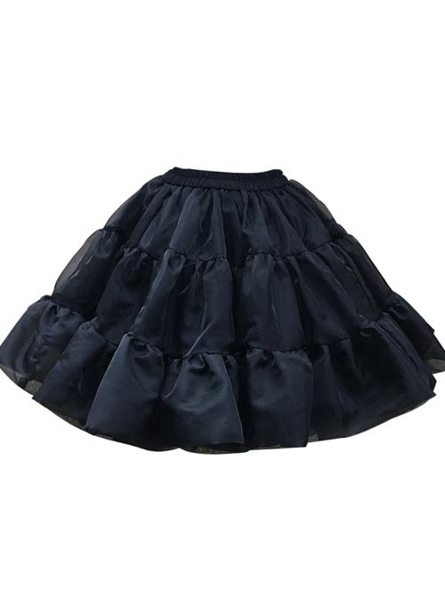 White Or Black Glass Yarn Bubble Skirt Lolita Short Petticoat