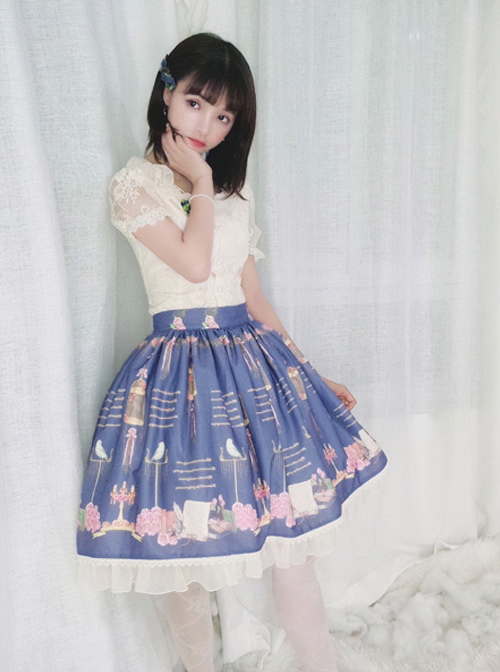 The Poetry Of Roses Series SK Retro Elegant Lace Classic Lolita Daily Short Skirt