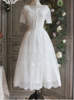 The Poetry Of Roses Series White Daily Lace Yarn Skirt Embroidered Classic Lolita Long Petticoat