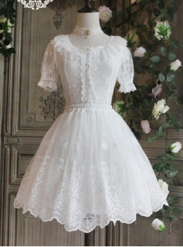 The Poetry Of Roses Series White Daily Lace Yarn Skirt Embroidered Classic Lolita Short Petticoat