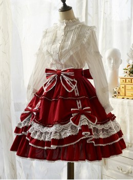 Bellflower Series Bowknot Retro Classic Lolita Skirt
