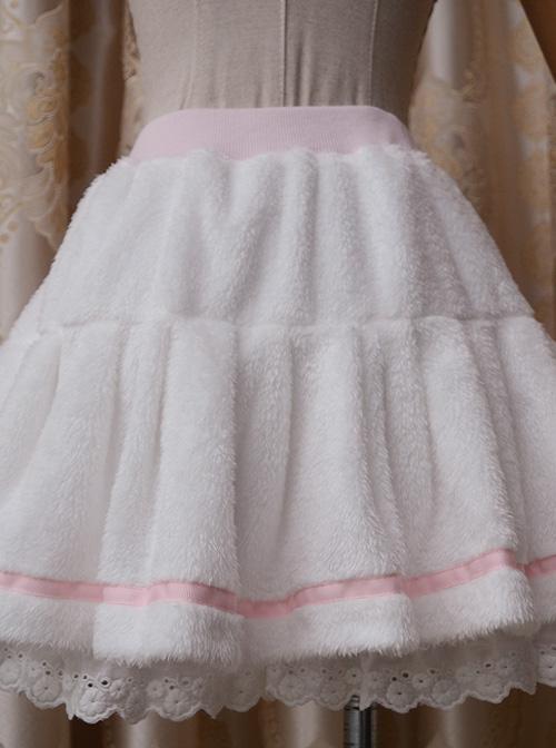 White Plush Cotton Lace Sweet Lolita Culottes