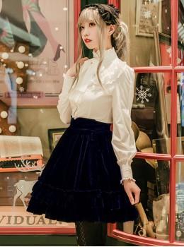 Multicolor Velvet Elegant Classic Lolita Thickening Short Style Skirt
