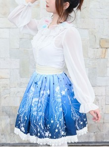 Blue Star Deep-sea Jellyfish Printing Lace Sweet Lolita Skirt