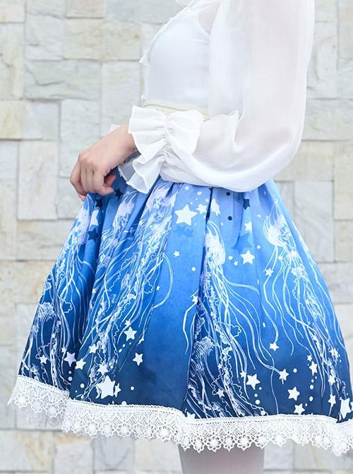 Blue Star Deep-sea Jellyfish Printing Lace Sweet Lolita Skirt