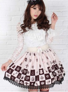 Alice Chess Grid Cute Printing Black Lace Sweet Lolita Skirt