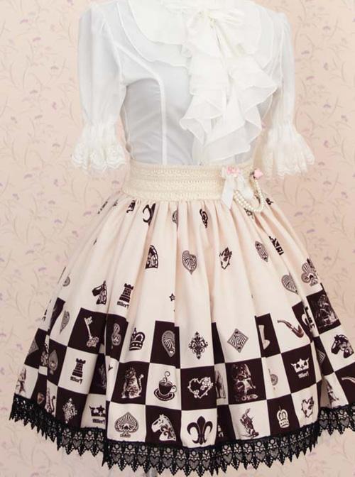 Alice Chess Grid Cute Printing Black Lace Sweet Lolita Skirt