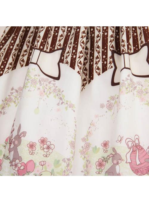 Easter Bunnys And Easter Eggs Printing Brown Stripes Sweet Lolita Skirt
